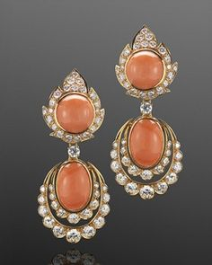 Angel Skin Coral and Diamond Flame Pendant Earrings by Van Cleef & Arpels, circa 1960s