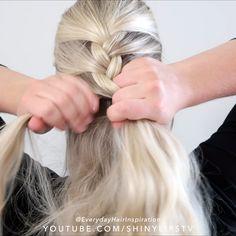 Wavy Hair With Braid, French Braid Short Hair, French Braid Ponytail, Braiding Your Own Hair, French Braid Hairstyles, Braided Hairstyles Tutorials, Braids For Long Hair, French Braid Tutorials, French Style Hair