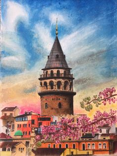 My dry pen does not work in Galata tower Oil Painting Pictures, Art Pictures, Watercolor Illustration, Watercolor Paintings, City Drawing, Diy Artwork, Turkish Art, Inspirational Artwork, Cool Art Drawings