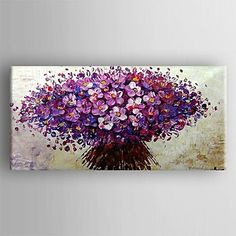 Oil Painting Modern Knife Flower Hand Painted Canvas with Stretched Framed - USD $ 119.99
