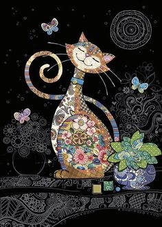 kitty cats Bug Art - Happy Cat - designed by Jane Crowther Wal Art, Illustration Art, Illustrations, Cat Quilt, Cat Drawing, Cat Design, Fabric Art, Wicca, Collage Art