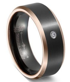 THREE KEYS JEWELRY 6mm 8mm Mens Tungsten//Carbon Fiber//Titanium Wedding Ring Black Brushed with Zebra Wood Rosewood Inner Band