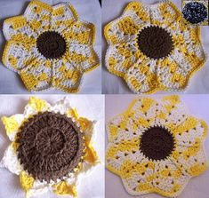 "Ravelry: Sun Flower Kitchen Set pattern by Julee Reeves This set includes patterns for the following:  Sun Flower Hot Pad/ Pot holder- 8 1/2"" Across  Sun Flower Dish Cloth w/ Built in Scrubber- 9"" Across  Sun Flower Dish Cloth- 9 1/2"" Across  Sun Flower Scrubber- 5"" Across (including Petals)"