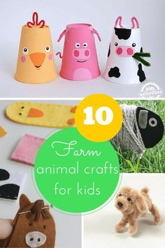 10 fun farm animal crafts for kids (pig, cow, sheep, chicken, goat, duck, horse & dog crafts for Old MacDonald's farm)!