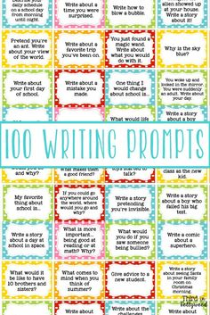 100 Writing Prompts - 100 Writing Prompts. (n.d.). Retrieved February 27, 2016, from https://www.teacherspayteachers.com/Product/100-Writing-Prompts-1377772 I pinned this to have new ideas for journal writing.