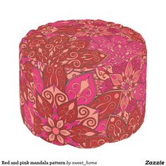 Red and pink mandala pattern round pouf  #Home #decor #Room #Interior #decorating #Idea #Styles #Traditional #Boho #Indian #Vintage #floral #motif