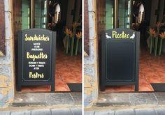 Pizarra doble para Café Habana (Las Palmas de GC). Esmalte sintético sobre PVC espumado.
