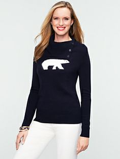 Cozy Polar Bear Sweater #Talbots Diva Fashion, Fashion Design, Fashion Trends, Fashion Inspiration, Winter Sweaters, Winter Wardrobe, Winter Outfits, Winter Clothes, Talbots