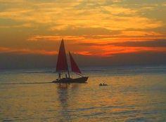 Sun setting on Ocean in Waikiki -  Hawaii