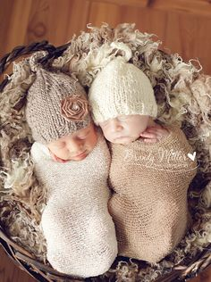 2 baby boy girl twin knitted beanie hats in beige brown with removable rose…