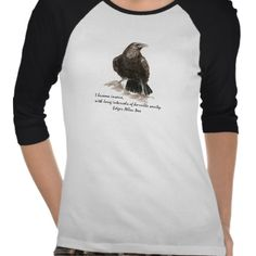Edgar Allen Poe Insanity quote Watercolor Raven tshirts YES please!