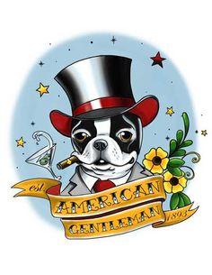 Boston terrier American Gentleman tattoo dog art by rubenacker, $15.00