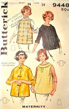 60s Maternity Smock Top Butterick 9448 Vintage by stumbleupon, $9.95