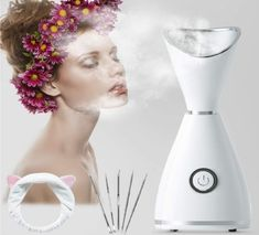 Mist Facial Steamer, RGCTL Nano lonic Warm Mist Humidifier Atomizer Sprayer Moisturizing Face SPA with 5 Piece Stainless Steel Skin Kit and Head Band Blackhead Remover, Warm Mist Humidifier, Types Of Facials, Essential Oil Box, How To Reduce Pimples, Facial Steamer, Massage Roller, Facial Treatment