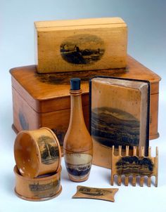 scottish antique mauchline ware selection, circa 1840-1900.made as tourist souvenirs.