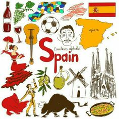 Fun colorful sketch collection of Spain icons, countries alphabet photo World Cultures, Cultures Du Monde, Geography For Kids, Maps For Kids, World Geography, Flags Of European Countries, Spanish Class, Spanish Lessons, Learning Spanish