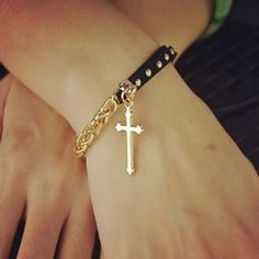 New Fashion gold plated leather rope chain cross charm bracelets Valentine's Day gift for women