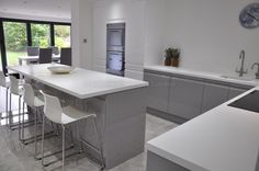 Viseu Handleless Grey & White High Gloss Kitchen with Smeg Appliances