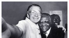 We're going to dismantle the apartheid regime, but first, lemme take a selfie... (Beyers Naudé and Desmond Tutu)