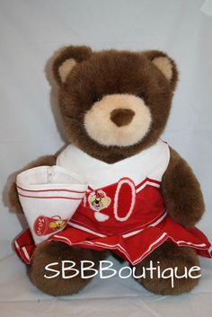 "14"" Build A Bear Plush Teddy Red White Cheerleader Megaphone Clothes Stuffed Toy #BuildABear"