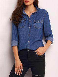 Blusa solapa manga larga bolsillos denim-(Sheinside)