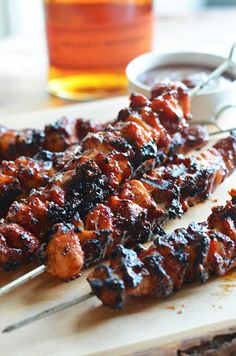 Bacon Bourbon BBQ Chicken Kebabs that look so easy! Minus the burbon, because we don't want drunk chicken.