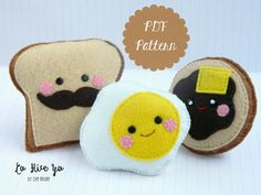 PDF Pattern: Felt Kawaii Food  French Toast by LoHiceYoCraft                                                                                                                                                                                 More
