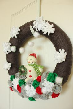 Snowman Winter Yarn Wreath Gray Red by TheLandofCraft, $48.00 | https://www.etsy.com/listing/166095256/reserved-snowman-winter-yarn-wreath-gray | #wreath #craft #snowman #homedecor
