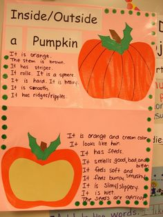 Pumpkin unit -- laminate background record new student thoughts each year.