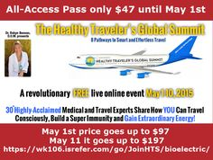 Order All Access Pass now and save - Price Goes up May 1st  http://www.bioelectricshield.com/in-the-media/online-event-healthy-traveler-s-summit-30-experts-share-their-secrets.html