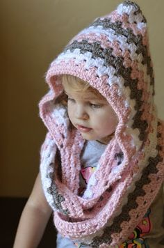 Crochet hooded cowl with link to pattern.