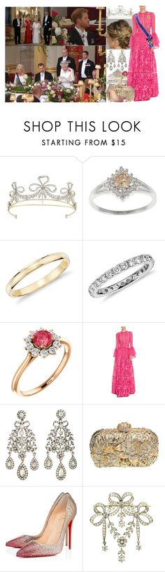 """""""Attending the State Banquet at Buckingham Palace in honour of The King and Queen of Spain"""" by charlottedebora ❤ liked on Polyvore featuring Blue Nile, Costarellos, Olivia Collings Antique Jewelry, Christian Louboutin and Tiffany & Co."""