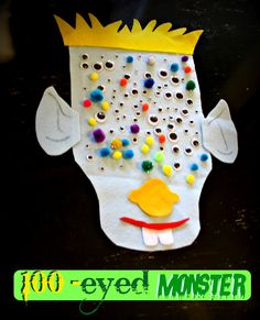 100 eyed monster for 100 days at school (make one per table to cut down on # of eyes needed for supplies)