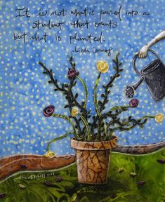 Planted teacher gift potted flowers grow spring by shellieartist