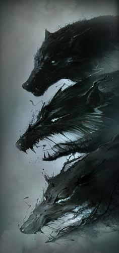 """Wolf concept art from """"Hunger is a Monster"""" by Platige image Monster Illustration, Illustration Art, Fantasy Creatures, Mythical Creatures, Le Wendigo, Dark Fantasy, Fantasy Art, Art Noir, Creature Design"""