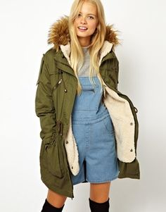 Image 1 ofASOS Fur Hooded Detachable Lined Parka