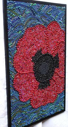Custom order Mardi Gras Bead framed Poppy red by BayoulandBeads, $235.00