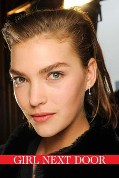 Impossibly pretty: update the 'barely there' look with soft pink cheeks and dewy skin, as seen at Balmain.
