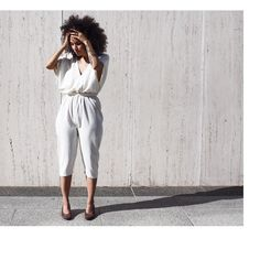 So flattered to be featured on @manrepeller by our friend and muse @nikishabrunson of @urbanbushbabes & @pineapplelife_official in 2 looks from her 7 day profile shot here in her day 3 look our Edition V Jumpsuit in Natural textured silk noil styled with a belt & minimal heel available now in the web-shop by mirandabennettstudio