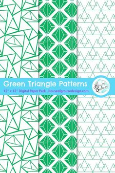Digital paper pack with an elegant set of seamless triangular patterns in green and white. By House of Grouse Design, the cutest digital scrapbooking warehouse. Pattern Designs, Retro Pattern, Cute Pattern, Surface Pattern Design, Paper Design, Fabric Design, Triangular Pattern, Origami Patterns, Scrapbook Background