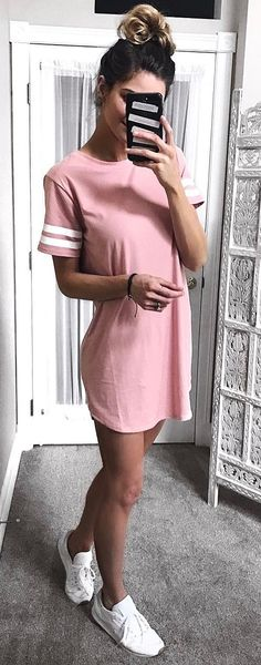 cute outfit dress + sneakers