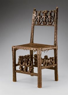 Africa   chair from the Chokwe people of Angola   Wood, brass, plant fiber and pigments