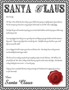 Letter from santa template word it last week today she got a santa sends you a letter christmas craft for kids spiritdancerdesigns Image collections