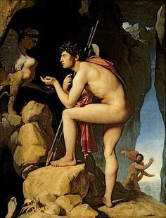 """Ingres (1780-1867)  """"Odipus And Sphinx""""  @ Louvre, Paris"""