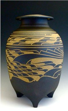 Charles Smith is a potter in Mobile, Al. Mother nature has been inspiring his carved pots for more than thirty years.(SOLD)