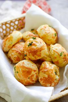 Cheese Puffs (Gougeres) - best and easiest recipe for puffy, light and airy French cheese puffs. Loaded with mozzarella and parmesan cheese, so good   rasamalaysia.com