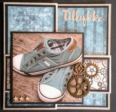 Z-fold kort med Dixi Craft Toppers Scrapbook Cards, Scrapbooking, Masculine Cards, Chuck Taylor Sneakers, Boys, Runners, Crafts, Inspiration, Cards