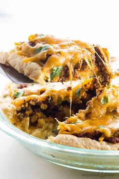 """Easy Tamale Pie Casserole - (S)   """"The whole family will love this easy tamale pie casserole with homemade enchilada sauce. No one will know it's gluten-free and takes 30 minutes!"""" - Maya  www.TrimHealthyMama.com"""