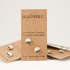 Pieces of Mountains in Taupe  Porcelain Stud Earrings by maboue, $16.00
