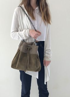 GRACE handcrafted leather bucket bag with crochet details Green Suede, Leather Interior, Suede Leather, Bucket Bag, Beige, Chic, Crochet, Color, Spring